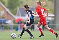 Febe Vanhaecke (3) of Club Brugge pictured in a duel with Lisa Petry (21) of Standard  during a female soccer game between Club Brugge Dames YLA and Standard Femine de Liege on the seventh matchday in Play-Off 1 of the 2020 - 2021 season of Belgian Scooore Womens Super League , saturday 15 May 2021  in Brugge , Belgium . PHOTO SPORTPIX.BE | SPP | DAVID CATRY