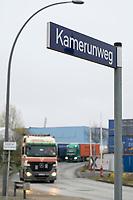 GERMANY, Hamburg, german colonial history, controversial street names, africa street in Hamburg port  / DEUTSCHLAND, Hamburg, Spuren der deutschen Kolonialgeschichte, Afrika Hafen Terminal, umstrittene Straßennamen, Kamerunweg im Hamburger Hafen
