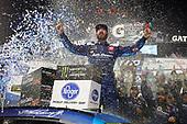 #19: Martin Truex Jr., Joe Gibbs Racing, Toyota Camry Auto Owners Insurance celebrates winning the First Data 500 at Martinsville Speedway.