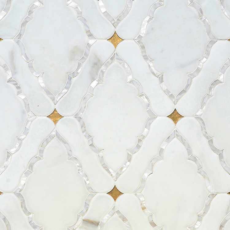 Josephine, a waterjet mosaic shown in Shell, Venetian honed Calacatta and honed 24K Gold Glass, is part of the Aurora® collection by New Ravenna.