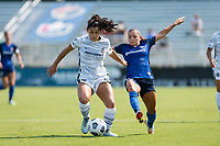 CARY, NC - SEPTEMBER 12: Debinha #10 of the NC Courage defends against Rocky Rodriguez #11 of the Portland Thorns during a game between Portland Thorns FC and North Carolina Courage at WakeMed Soccer Park on September 12, 2021 in Cary, North Carolina.