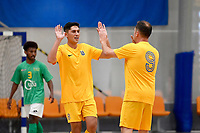 Rahan Ali of Southern celebrates a goal during the Men's Futsal SuperLeague, Central Futsal v Southern United Futsal at ASB Sports Centre, Wellington on Saturday 31 October 2020.<br /> Copyright photo: Masanori Udagawa /  www.photosp ort.nz