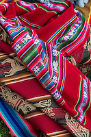 Peru, Urubamba Valley, Quechua Village of Misminay.  Locally Woven Fabric.