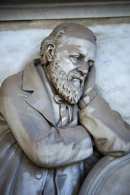 Pictures of the Dominico Boasi, Boasi tomb 1870, stone sculptured monumental tomb of the Staglieno Monumental Cemetery, . Genoa, Italy