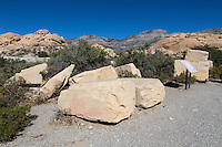 Red Rock Canyon, Nevada.  Stone Blocks Remaining from a Sandstone Quarry that Ceased Operations in the early 1900s.