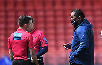 5th February 2021; Ashton Gate Stadium, Bristol, England; Premiership Rugby Union, Bristol Bears versus Sale Sharks; Pat Lam Director of Rugby for Bristol Bears expresses an opinion to Referee Luke Pearce