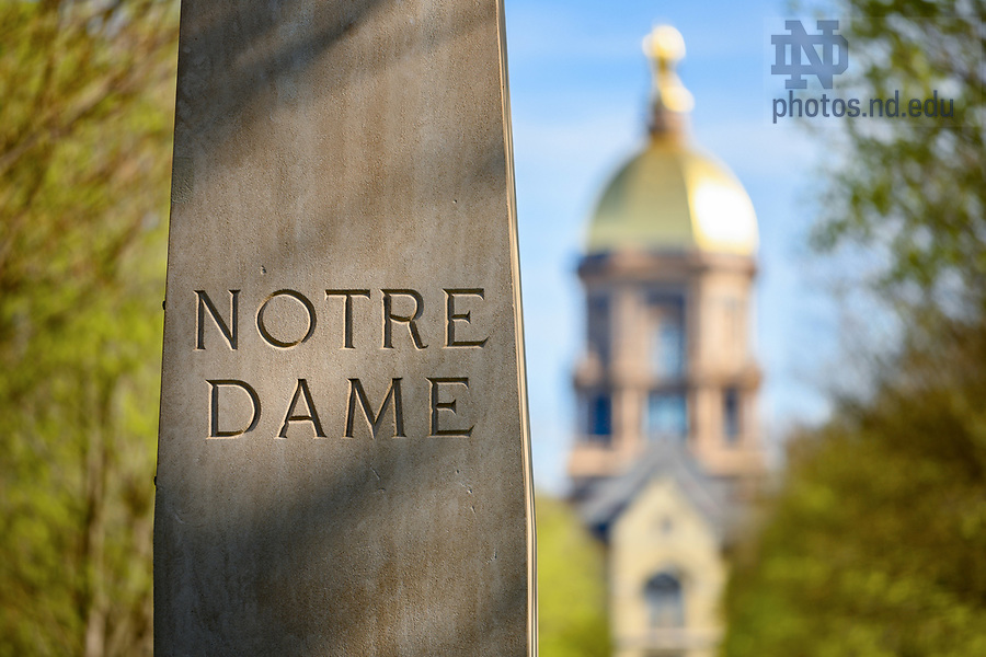 April 22, 2019; Pedestal of 'Our Lady of Notre Dame' statue in the main circle. (Photo by Matt Cashore/University of Notre Dame)