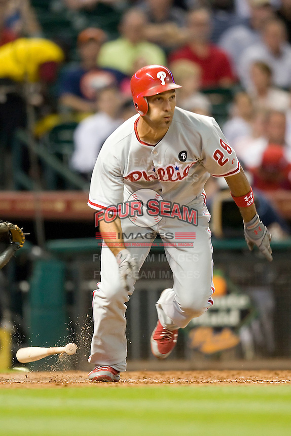 Philadelphia Phillies outfielder Raul Ibanez #29 heads to first base during the Major League Baseball game against the Houston Astros at Minute Maid Park in Houston, Texas on September 12, 2011. Houston defeated Philadelphia 5-1.  (Andrew Woolley/Four Seam Images)
