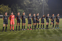 Line-up O.H.L. ( OHL's midfielder Lenie Onzia (18) , OHL's goalkeeper Louise Van Den Bergh (1) , OHL's defender Sari Kees (2) , OHL's defender Amber Tysiak (3) , OHL's midfielder Zenia Mertens (6) , OHL's forward Jill Janssens (7) , OHL's forward Hannah Eurlings (9) , OHL's midfielder Luna Vanzeir (10) , OHL's forward Estee Cattoor (11) , OHL's midfielder Sara Yuceil (13) , OHL's defender Janne Geers (14) ) pictured before a female soccer game between  Racing Genk Ladies and Oud Heverlee Leuven on the fourth matchday of the 2020 - 2021 season of Belgian Scooore Womens Super League , friday 9 th of October 2020  in Genk , Belgium . PHOTO SPORTPIX.BE | SPP | STIJN AUDOOREN