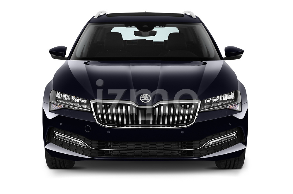 Car photography straight front view of a 2020 Skoda Superb 5 Door Wagon Front View