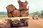 Para State, Brazil. Illegally felled tree trunks being transported on a truck with no license plate or identification; bulldozer on the other side of the road.