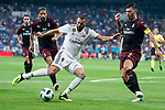 Real Madrid Karim Benzema and A.C. Milan Alessio Romagnoli during Santiago Bernabeu Trophy match at Santiago Bernabeu Stadium in Madrid, Spain. August 11, 2018. (ALTERPHOTOS/Borja B.Hojas)