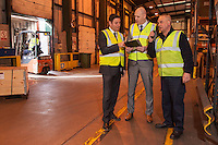 Pictured in the loading bay from left are Dave Smith and Nick Setaro with Shift Manager David Bray