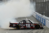 NASCAR Camping World Truck Series <br /> Texas Roadhouse 200<br /> Martinsville Speedway, Martinsville VA USA<br /> Saturday 28 October 2017<br /> Noah Gragson, Switch Toyota Tundra celebrates the win with a burn out<br /> World Copyright: Scott R LePage<br /> LAT Images<br /> ref: Digital Image lepage-171028-mart-4367