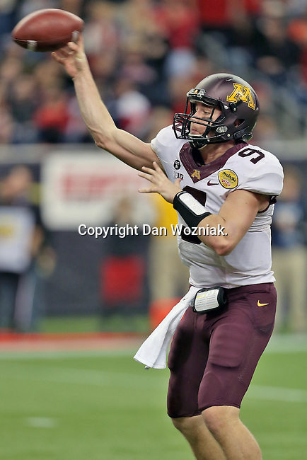 Minnesota Golden Gophers quarterback Philip Nelson (9) in action during the Meineke Car Care Bowl game of Texas between the Texas Tech Red Raiders and the Minnesota Golden Gophers at the Reliant Stadium in Houston, Texas. Texas defeats Minnesota 34 to 31.