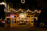 Beautiful Christmas lights glow on the Alexander Michael's  Restaurant & Tavern in the Fourth Ward in Uptown Charlotte, North Carolina.<br /> <br /> Photography of  Charlotte area Christmas time scenes.<br /> <br /> Charlotte Photographer - PatrickSchneiderPhoto.com
