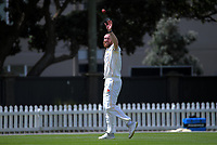 Iain McPeake bowls during day two of the Plunket Shield match between the Wellington Firebirds and Canterbury at Basin Reserve in Wellington, New Zealand on Tuesday, 20 October 2020. Photo: Dave Lintott / lintottphoto.co.nz