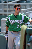 Dayton Dragons outfielder Beau Amaral (25) before a game against the Lansing Lugnuts on August 25, 2013 at Cooley Law School Stadium in Lansing, Michigan.  Dayton defeated Lansing 5-4 in 11 innings.  (Mike Janes/Four Seam Images)