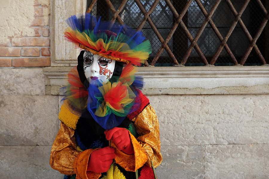 Woman dressed in traditional mask and costume for Venice Carnival standing at Doge's Palace, Piazza San Marco, Venice, Veneto, Italy