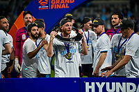 30th August 2020. Sydney, Australia;  Players of Sydney FC celebrate during the awards ceremony for the 2019/2020 season A-League in Sydney, Australia, Aug. 30, 2020. Sydney FC claimed a historic fifth A-League crown after beating Melbourne City 1-0 in the Grand Final of A-League