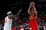 United States´s Cousins (L) and Serbia´s Teodosic during FIBA Basketball World Cup Spain 2014 final match between United States and Serbia at `Palacio de los deportes´ stadium in Madrid, Spain. September 14, 2014. (ALTERPHOTOSVictor Blanco)