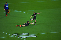 Damien McKenzie kicks for goal during the rugby match between North and South at Sky Stadium in Wellington, New Zealand on Saturday, 5 September 2020. Photo: Dave Lintott / lintottphoto.co.nz