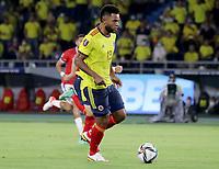 BARRANQUILLA – COLOMBIA, 09-09-2021: Miguel Borja de Colombia (COL) durante partido entre los seleccionados de Colombia (COL) y Chile (CHI), de la fecha 9 por la clasificatoria a la Copa Mundo FIFA Catar 2022, jugado en el estadio Metropolitano Roberto Melendez en Barranquilla. / Miguel Borja of Colombia (COL) during match between the teams of Colombia (COL) and Chile (CHI), of the 9th date for the FIFA World Cup Qatar 2022 Qualifier, played at Metropolitan stadium Roberto Melendez in Barranquilla. / Photo: VizzorImage / Jairo Cassiani / Cont.