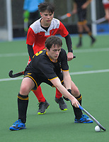Action from the boys match between Wellington College and Lindisfarne on day three of the 2020 Lower North Island Hockey Premiership tournament at Fitzherbert Park Twin Turfs in Palmerston North, New Zealand on Wednesday, 2 September 2020. Photo: Dave Lintott / lintottphoto.co.nz