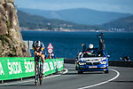 US Champion Ian Garrison (USA) Deceuninck-Quick Step in action during Stage 13 of the Vuelta Espana 2020 an individual time trial running 33.7km from Muros to Mirador de Ézaro. Dumbría, Spain. 3rd November 2020. <br /> Picture: Unipublic/Charly Lopez | Cyclefile<br /> <br /> All photos usage must carry mandatory copyright credit (© Cyclefile | Unipublic/Charly Lopez)