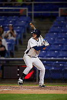 Binghamton Rumble Ponies left fielder Kevin Taylor (9) at bat during a game against the Altoona Curve on May 17, 2017 at NYSEG Stadium in Binghamton, New York.  Altoona defeated Binghamton 8-6.  (Mike Janes/Four Seam Images)
