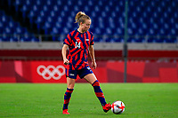 SAITAMA, JAPAN - JULY 24: Emily Sonnett #14 of the United States controls the ball during a game between New Zealand and USWNT at Saitama Stadium on July 24, 2021 in Saitama, Japan.