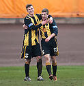 Berwick's Dean Carse (13) celebrates with Steven Notman after he scores their fourth goal.
