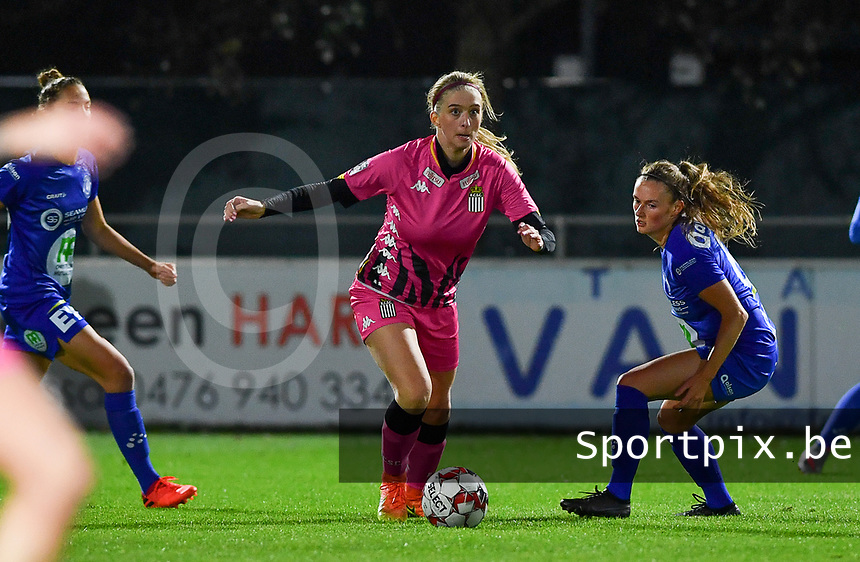 Ludmila Matavkova (9 Charleroi) pictured going past Emma Van Britsom (6 Gent) during a female soccer game between  AA Gent Ladies and Sporting Charleroi Feminin on the fifth matchday of the 2020 - 2021 season of Belgian Scooore Womens Super League , friday 16 th of October 2020  in Oostakker , Belgium . PHOTO SPORTPIX.BE | SPP | DAVID CATRY