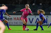 Ludmila Matavkova (9 Charleroi) pictured going past Emma Van Britsom (6 Gent) during a female soccer game between  AA Gent Ladies and Sporting Charleroi Feminin on the fifth matchday of the 2020 - 2021 season of Belgian Scooore Womens Super League , friday 16 th of October 2020  in Oostakker , Belgium . PHOTO SPORTPIX.BE   SPP   DAVID CATRY