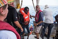 Sea Watch-2.<br /> Die Sea Watch-2 bei ihrer 13. SAR-Mission vor der libyschen Kueste.<br /> Im Bild: Gefluechtete kommen an Bord der Sea Watch-2.<br /> 21.10.2016, Mediterranean Sea<br /> Copyright: Christian-Ditsch.de<br /> [Inhaltsveraendernde Manipulation des Fotos nur nach ausdruecklicher Genehmigung des Fotografen. Vereinbarungen ueber Abtretung von Persoenlichkeitsrechten/Model Release der abgebildeten Person/Personen liegen nicht vor. NO MODEL RELEASE! Nur fuer Redaktionelle Zwecke. Don't publish without copyright Christian-Ditsch.de, Veroeffentlichung nur mit Fotografennennung, sowie gegen Honorar, MwSt. und Beleg. Konto: I N G - D i B a, IBAN DE58500105175400192269, BIC INGDDEFFXXX, Kontakt: post@christian-ditsch.de<br /> Bei der Bearbeitung der Dateiinformationen darf die Urheberkennzeichnung in den EXIF- und  IPTC-Daten nicht entfernt werden, diese sind in digitalen Medien nach §95c UrhG rechtlich geschuetzt. Der Urhebervermerk wird gemaess §13 UrhG verlangt.]