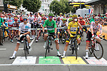 The leaders jerseys lined up for the start Stage 14 of the 2019 Tour de France running 117.5km from Tarbes to Tourmalet Bareges, France. 20th July 2019.<br /> Picture: Colin Flockton | Cyclefile<br /> All photos usage must carry mandatory copyright credit (© Cyclefile | Colin Flockton)