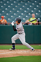 Trenton Thunder left fielder Devyn Bolasky (9) hit a single during the first game of a doubleheader against the Bowie Baysox on June 13, 2018 at Prince George's Stadium in Bowie, Maryland.  Trenton defeated Bowie 4-3.  (Mike Janes/Four Seam Images)
