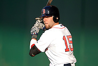 Boston Red Sox 2B DUSTIN PEDROIA during a two game rehabilitation stint with the Pawtucket Red Sox. He is shown here during a game vs. the Buffalo Bisons at McCoy Stadium in Pawtucket, Rhode Island on August 14, 2010  Photo By Ken Babbitt/Four Seam Images
