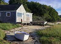 Boathouse and rowboat, Chatham, Cape Cod, Massachusetts, USA