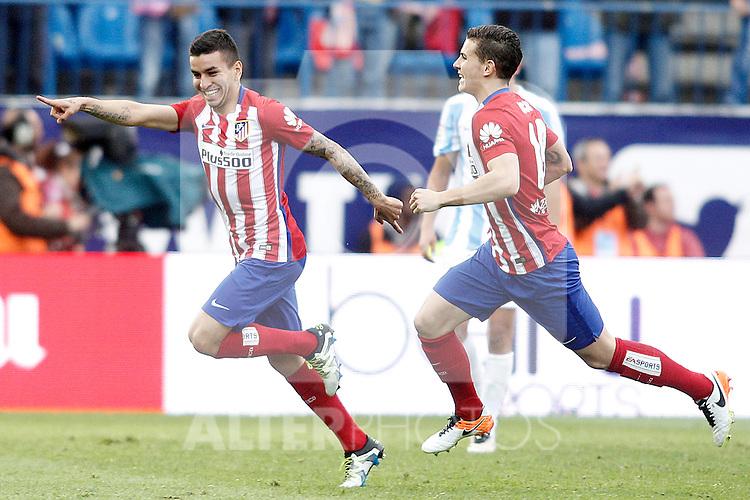 Atletico de Madrid's Angel Correa (l) and Lucas Hernandez celebrate goal during La Liga match. April 23,2016. (ALTERPHOTOS/Acero)