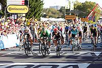 9th September 2020, Chatelaillon Plage to Poitiers, France; 107th Tour de France Cycling tour, stage 11;  Lotto - Soudal 2020, Deceuninck - Quick Step 2020, Bora - Hansgrohe 2020, Jumbo - Visma Ewan, Caleb Bennett, Sam Sagan, Peter Van Aert, Wout Poitiers