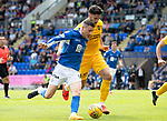 St Johnstone v Livingston….10.08.19      McDiarmid Park     SPFL <br />Ricki Lamie  battles with Michael O'Halloran<br />Picture by Graeme Hart. <br />Copyright Perthshire Picture Agency<br />Tel: 01738 623350  Mobile: 07990 594431