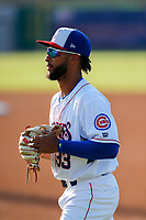 Tennessee Smokies left fielder D.J. Artis (33) warms up prior to the game against the Chattanooga Lookouts at Smokies Stadium on June 18, 2021, in Kodak, Tennessee. (Danny Parker/Four Seam Images)
