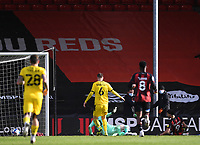13th March 2021; Vitality Stadium, Bournemouth, Dorset, England; English Football League Championship Football, Bournemouth Athletic versus Barnsley; Dominic Solanke of Bournemouth shoots and scores in 45th minute 2-1
