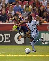 Real Salt Lake forward Fabian Espindola (16) shot. Real Salt Lake tied the Colorado Rockies, 1-1, at Rio Tinto Stadium on June 6, 2009.