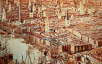 London: Historical--Detail from Panorama of London around 1810, East of St. Paul's. Even after the opening of early docks east of tower, shipping still crowded into the upper pool.