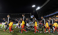 The two teams walk out at the Free State Stadium, Bloemfontein. USA defeated Spain 2-0 during the semi-finals of the FIFA Confederations Cup at Free State Stadium in Manguang/Bloemfontein, South Africa on June 24, 2009..