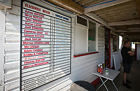 Teams listed on a board for spectators to view during the UHLSport Hellenic Premier League match between Flackwell Heath v Tuffley Rovers at Wilks Park, Flackwell Heath, England on 20 April 2019. Photo by Andy Rowland.