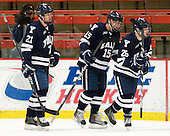 Colin Dueck (Yale - 21), Clinton Bourbonais (Yale - 15), Nicholas Weberg (Yale - 26) - The Harvard University Crimson defeated the visiting Yale University Bulldogs 8-2 in the third game of their ECAC Quarterfinal matchup on Sunday, March 11, 2012, at Bright Hockey Center in Cambridge, Massachusetts.