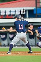 Austin Diemer (11) of the Elizabethton Twins at bat against the Burlington Royals at Burlington Athletic Park on June 25, 2014 in Burlington, North Carolina.  The Twins defeated the Royals 8-0. (Brian Westerholt/Four Seam Images)